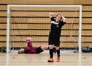 05 December 2017; Rebecca Doddy of St. Attracta's Community School, Tubbercurry, Co. Sligo, reacts after seeing her penalty saved by Amy Noonan of Presentation Secondary School, Ballyphehane, Co. Cork, during the FAI Post Primary Schools Futsal Finals at Waterford IT Indoor Arena in Waterford.  Photo by Seb Daly/Sportsfile