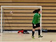 05 December 2017; Caitlin Power of Presentation Secondary School, Ballyphehane, Co. Cork, celebrates after scoring penalty during the FAI Post Primary Schools Futsal Finals at Waterford IT Indoor Arena in Waterford.  Photo by Seb Daly/Sportsfile