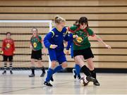 05 December 2017; Kate McDonald of St. Leo's College, Co. Carlow in action against Alaina Keogh, of Carndonagh Community School, Co. Donegal, during the FAI Post Primary Schools Futsal Finals at Waterford IT Indoor Arena in Waterford.  Photo by Seb Daly/Sportsfile