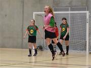 05 December 2017; Lya Gilhooly of Presentation Secondary School, Ballyphehane, Co. Cork, celebrates after scoring her side's first goal against St. Leo's College, Co. Carlow, during the FAI Post Primary Schools Futsal Finals at Waterford IT Indoor Arena in Waterford.  Photo by Seb Daly/Sportsfile