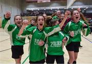 05 December 2017; Presentation Secondary School, Ballyphehane, Co. Cork, players celebrate following their victory during the FAI Post Primary Schools Futsal Finals at Waterford IT Indoor Arena in Waterford.  Photo by Seb Daly/Sportsfile
