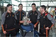 6 December 2017; Galway hurlers, from left, David Burke, Conor Cooney, Gearoid McInerney and Colm Callanan, with the Liam MacCarthy cup, at Dublin Airport prior to departure for the PwC All Star Tour 2017 in Singapore. Photo by Seb Daly/Sportsfile
