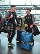 6 December 2017; Padraic Maher of Tipperary, left, and Noel Connors of Waterford at Dublin Airport prior to departure for the PwC All Star Tour 2017 in Singapore. Photo by Seb Daly/Sportsfile