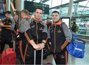 6 December 2017; Cathal Barrett of Tipperary, left, and Jamie Barron of Waterford at Dublin Airport prior to departure for the PwC All Star Tour 2017 in Singapore. Photo by Seb Daly/Sportsfile