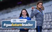 6 December 2017; Caoimhe Cahill, aged 16, Gort Community School pupil, left, and Galway Camogie player and also Gort Community School pupil Ava Lynskey in attendance during the Future Leaders Transition Year Programme Launch at Croke Park in Dublin. Photo by David Fitzgerald/Sportsfile
