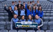6 December 2017; In attendance, from left, Galway hurler Aidan Harte, Galway camogie player Ava Lynskey, Dublin ladies footballer Ciara Trant and Dublin footballer Dean Rock alongside pupils from St Joseph's Drogheda, Gort Community School, Colaiste Chiarain Croom in Limerick, St Michaels Holy Faith in Finglas, St Macartans in Monaghan and Oatlands College Mount Merrion in Co. Dublin during the Future Leaders Transition Year Programme Launch at Croke Park in Dublin. Photo by David Fitzgerald/Sportsfile