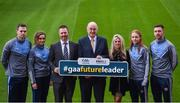 6 December 2017; In attendance, from left, Dublin footballer Dean Rock, Galway camogie player Ava Lynskey, Eoghan Hanley, National Co-Ordinator of the Future Leaders programme, John Horan, President Elect of the GAA, Ciara O'Donnell, Director of the PDST, Dublin ladies footballer Ciara Trant and Galway hurler Aidan Harte during the Future Leaders Transition Year Programme Launch at Croke Park in Dublin. Photo by David Fitzgerald/Sportsfile