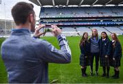 6 December 2017; Dublin footballer Dean Rock takes a photo of pupils, from left, Amy Donohue, Katie Dixon and Tara Byrne-Seery with Dublin ladies footballer Ciara Trant during the Future Leaders Transition Year Programme Launch at Croke Park in Dublin. Photo by David Fitzgerald/Sportsfile