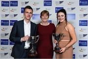 6 December 2017; Schools Athletes of the Year Christopher O'Donnell and Michaela Walsh with Mary Barrett, Irish Schools Athletics, during the Irish Life Health National Athletics Awards 2017 at Crowne Plaza in Santry, Dublin. Photo by Sam Barnes/Sportsfile