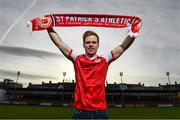 7 December 2017; Simon Madden poses for a portrait, at Richmond Park in Inchicore, after signing for St Patrick's Athletic's. Photo by Stephen McCarthy/Sportsfile