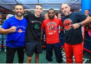 6 December 2017; Michael Conlan, second left, with Guillermo Rigondeaux, second right, following a media workout in the Mendez Boxing Gym in New York, USA. Photo by Mikey Williams / Top Rank / Sportsfile