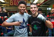 6 December 2017; Michael Conlan, right, and Shakur Stevenson following a media workout in the Mendez Boxing Gym in New York, USA. Photo by Mikey Williams / Top Rank / Sportsfile