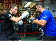 6 December 2017; Michael Conlan and trainer Manny Robles during a media workout in the Mendez Boxing Gym in New York, USA. Photo by Mikey Williams / Top Rank / Sportsfile