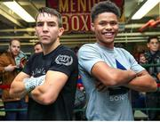 6 December 2017; Michael Conlan, left, and Shakur Stevenson following a media workout in the Mendez Boxing Gym in New York, USA. Photo by Mikey Williams / Top Rank / Sportsfile