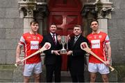 7 December 2017; In attendance at the official launch of Davy as sponsor of the Cuala Senior Hurling team are, from left, Con O'Callaghan, Tom Butler, Director, Davy Private Clients, Eddie Gough and Cuala captain Paul Schutte. This partnership will see Davy support the current All-Ireland, Leinster and Dublin champions in their continued pursuit of excellence. Photo by Sam Barnes/Sportsfile