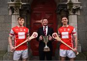 7 December 2017; In attendance at the official launch of Davy as sponsor of the Cuala Senior Hurling team are, from left, Con O'Callaghan, Tom Butler, Director, Davy Private Clients, and Cuala captain Paul Schutte. This partnership will see Davy support the current All-Ireland, Leinster and Dublin champions in their continued pursuit of excellence. Photo by Sam Barnes/Sportsfile