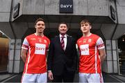 7 December 2017; In attendance at the official launch of Davy as sponsor of the Cuala Senior Hurling team are, from left, Cuala captain Paul Schutte, Tom Butler, Director, Davy Private Clients, and Con O'Callaghan. This partnership will see Davy support the current All-Ireland, Leinster and Dublin champions in their continued pursuit of excellence. Photo by Sam Barnes/Sportsfile