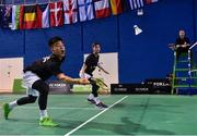 7 December 2017; Nhat Nguyen and Paul Reynolds of Ireland in action against Matijs Dierickx and Freek Golinski of Belgium during their Badminton Irish Open Male Doubles quarter-final match at the National Indoor Arena in Abbotstown, Dublin. Photo by David Fitzgerald/Sportsfile
