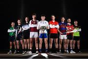 7 December 2017; Fitzgibbon Cup teams representatives, from left, David Reidy of LIT, Patrick Curran of DCU Dochas Eirann, Nicky Cleere of Garda College, Cian Salmon of NUIG, Michael Breen of UCC, Lorcan Lyons of UL, Mark Fanning of WIT, and Colin Dunford of Institute of Technology Carlow, in attendance at the Electric Ireland Higher Education GAA Senior Championships Launch and Draw at Croke Park in Dublin. Photo by Seb Daly/Sportsfile