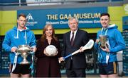 7 December 2017; Lisa Browne, Head of Marketing, Electric Ireland, and Ard Stiúrthóir of the GAA Páraic Duffy are joined by Michael Breen of University College Cork, left, and Diarmuid O'Connor of DCU Dochas Eireann, during the Electric Ireland Higher Education GAA Senior Championships Launch and Draw at Croke Park in Dublin. Photo by Seb Daly/Sportsfile