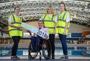 7 December 2017; John Fulham, president of Paralympics Ireland, with volunteers, from left, Lyndsey Rankin, Emma Heavin, and Jane Crowley, during Para Swimming Allianz European Championships Volunteer Appeal at National Aquatic Centre in Dublin. Over 600 volunteers are needed for the Para Swimming Allianz European Championships that are being held at the National Aquatic Centre from August 13-19th 2018. Four-time Paralympian and current Paralympics Ireland President, John Fulham, urged supporters of swimming, sports and Paralympic sports to log on to www.paralympics.ie to volunteer their time.