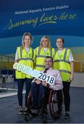 7 December 2017; John Fulham, president of Paralympics Ireland, with volunteers, from left, Jane Crowley, Emma Heavin, and Lyndsey Rankin, during Para Swimming Allianz European Championships Volunteer Appeal at National Aquatic Centre in Dublin. Over 600 volunteers are needed for the Para Swimming Allianz European Championships that are being held at the National Aquatic Centre from August 13-19th 2018. Four-time Paralympian and current Paralympics Ireland President, John Fulham, urged supporters of swimming, sports and Paralympic sports to log on to www.paralympics.ie to volunteer their time.