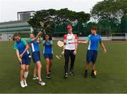 8 December 2017; Conor Cooney of Galway with pupils, from left, Alison Comrie Smith, Emily Potter, Alisha Malhotra and Harry Layard, during a coaching session on the PwC All Star Tour 2017 at UWCSEA Dover Campus,  Dover Rd, in Singapore. Photo by Ray McManus/Sportsfile