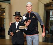 8 December 2017; Swissotel Merchant Court hotel employee 'Yana' with Kilkenny's Walter Walsh before Walter headed out to Saint Joseph's Institution International School as part of  a coaching session on the PwC All Star Tour 2017. Swissotel Merchant Court Singapore, Merchant Rd, Singapore. Photo by Ray McManus/Sportsfile