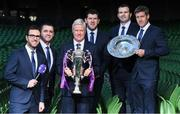 8 December 2017; TV3 announced it's presentation team and panel for it's coverage of the NatWest Six Nations 2018. The presentation team will be anchored by Joe Molloy. TV3's panellists will include Ronan O'Gara, Shane Horgan, Shane Jennings and Matt Williams. Alan Quinlan will join Dave McIntyre as part of the commentary team. TV3 holds the exclusive rights to the NatWest Six Nations for the next four years. At a launch event held in the Aviva Stadium when TV3 introduced the presentation team and panel for its exclusive coverage of the NatWest Six Nations 2018. are from left, presenter Joe Molloy, Alan Quinlan, Matt Williams, Shane Horgan, Shane Jennings and Ronan O'Gara. Photo by Brendan Moran/Sportsfile