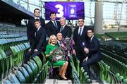 8 December 2017; TV3 announced it's presentation team and panel for it's coverage of the NatWest Six Nations 2018. The presentation team will be anchored by Joe Molloy. TV3's panellists will include Ronan O'Gara, Shane Horgan, Shane Jennings and Matt Williams. Alan Quinlan will join Dave McIntyre as part of the commentary team. TV3 holds the exclusive rights to the NatWest Six Nations for the next four years. At a launch event held in the Aviva Stadium when TV3 introduced the presentation team and panel for its exclusive coverage of the NatWest Six Nations 2018, are clockwise, from left, Ronan O'Gara, Shane Jennings, Shane Horgan, Matt Williams, Alan Quinlan, presenter Joe Molloy, commentator Dave McIntyre, and pitchside reporter Sinead Kissane. Photo by Brendan Moran/Sportsfile