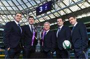 8 December 2017; TV3 announced it's presentation team and panel for it's coverage of the NatWest Six Nations 2018. The presentation team will be anchored by Joe Molloy. TV3's panellists will include Ronan O'Gara, Shane Horgan, Shane Jennings and Matt Williams. Alan Quinlan will join Dave McIntyre as part of the commentary team. TV3 holds the exclusive rights to the NatWest Six Nations for the next four years. At a launch event held in the Aviva Stadium when TV3 introduced the presentation team and panel for its exclusive coverage of the NatWest Six Nations 2018, are from left, Alan Quinlan, Shane Horgan, Matt Williams, Shane Jennings and Ronan O'Gara. Photo by Brendan Moran/Sportsfile