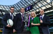 8 December 2017; TV3 announced it's presentation team and panel for it's coverage of the NatWest Six Nations 2018. The presentation team will be anchored by Joe Molloy. TV3's panellists will include Ronan O'Gara, Shane Horgan, Shane Jennings and Matt Williams. Alan Quinlan will join Dave McIntyre as part of the commentary team. TV3 holds the exclusive rights to the NatWest Six Nations for the next four years. At a launch event held in the Aviva Stadium when TV3 introduced the presentation team and panel for its exclusive coverage of the NatWest Six Nations 2018, are from left, presenter Joe Molloy, co-commentator Alan Quinlan, sideline reporter Sinead Kissane and commentator Dave McIntyre. Photo by Brendan Moran/Sportsfile