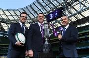 8 December 2017; TV3 announced it's presentation team and panel for it's coverage of the NatWest Six Nations 2018. The presentation team will be anchored by Joe Molloy. TV3's panellists will include Ronan O'Gara, Shane Horgan, Shane Jennings and Matt Williams. Alan Quinlan will join Dave McIntyre as part of the commentary team. TV3 holds the exclusive rights to the NatWest Six Nations for the next four years. At a launch event held in the Aviva Stadium when TV3 introduced the presentation team and panel for its exclusive coverage of the NatWest Six Nations 2018, are from left, presenter Joe Molloy, co-commentator Alan Quinlan and commentator Dave McIntyre. Photo by Brendan Moran/Sportsfile