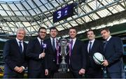 8 December 2017; TV3 announced it's presentation team and panel for it's coverage of the NatWest Six Nations 2018. The presentation team will be anchored by Joe Molloy. TV3's panellists will include Ronan O'Gara, Shane Horgan, Shane Jennings and Matt Williams. Alan Quinlan will join Dave McIntyre as part of the commentary team. TV3 holds the exclusive rights to the NatWest Six Nations for the next four years. At a launch event held in the Aviva Stadium when TV3 introduced the presentation team and panel for its exclusive coverage of the NatWest Six Nations 2018, are from left, Matt Williams, presenter Joe Molloy, Shane Horgan, Alan Quinlan, Shane Jennings and Ronan O'Gara. Photo by Brendan Moran/Sportsfile
