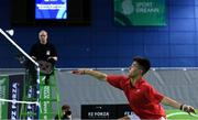 8 December 2017; Nhat Nguyen of Ireland in action against Alexander Roovers of Germany during the men's singles final during the Badminton Irish Open finals in the National Indoor Arena in Dublin. Photo by Eóin Noonan/Sportsfile