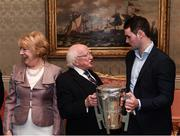 8 December 2017; Galway's Johnny Coen carrying the Liam MacCarthy Cup is welcomed by the President of Ireland Michael D Higgins and his wife Sabina during the GAA Hurling All-Ireland Senior & Minor Champions visit to Áras an Uachtaráin in Phoenix Park, Dublin. Photo by Stephen McCarthy/Sportsfile
