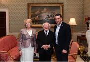 8 December 2017; Galway minor manager Jeffrey Lynskey is welcomed by the President of Ireland Michael D Higgins and his wife Sabina during the GAA Hurling All-Ireland Senior & Minor Champions visit to Áras an Uachtaráin in Phoenix Park, Dublin. Photo by Stephen McCarthy/Sportsfile