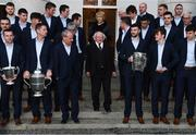 8 December 2017; The President of Ireland Michael D Higgins and his wife Sabina make their way down steps to join the Galway senior hurling team and management for an official photograph during the GAA Hurling All-Ireland Senior & Minor Champions visit to Áras an Uachtaráin in Phoenix Park, Dublin. Photo by Stephen McCarthy/Sportsfile
