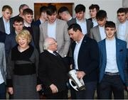 8 December 2017; The President of Ireland Michael D Higgins, in the company of his wife Sabina, speaks with Galway minor hurling manager Jeffrey Lynskey following an official photograph during the GAA Hurling All-Ireland Senior & Minor Champions visit to Áras an Uachtaráin in Phoenix Park, Dublin. Photo by Stephen McCarthy/Sportsfile