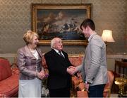 8 December 2017; Galway minor hurler Jack Canning is welcomed by the President of Ireland Michael D Higgins and his wife Sabina during the GAA Hurling All-Ireland Senior & Minor Champions visit to Áras an Uachtaráin in Pheonix Park, Dublin. Photo by Stephen McCarthy/Sportsfile