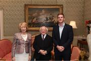 8 December 2017; Galway's James Skehill is welcomed by the President of Ireland Michael D Higgins and his wife Sabina during the GAA Hurling All-Ireland Senior & Minor Champions visit to Áras an Uachtaráin in Phoenix Park, Dublin. Photo by Stephen McCarthy/Sportsfile