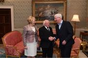 8 December 2017; Galway kit manager James 'Tex' Callaghan is welcomed by the President of Ireland Michael D Higgins and his wife Sabina during the GAA Hurling All-Ireland Senior & Minor Champions visit to Áras an Uachtaráin in Phoenix Park, Dublin. Photo by Stephen McCarthy/Sportsfile