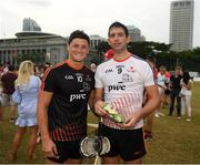 9 December 2017; Lee Chin of 2017 PwC All Star Team and former Offaly star Gary Hannify who played as a guest on the 2016 PwC All Star Team after the PwC All Star Tour 2017 - All Star Hurling game at the Singapore Recreation Club, The Pandang, in Singapore. Photo by Ray McManus/Sportsfile