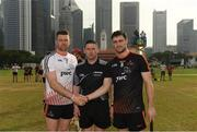 9 December 2017; Captain of the 2017  PwC All Star Team David Burke, right, referee Fergal Horgan and the captain of the 2016  PwC All Star Team Pádraic Maher before the PwC All Star Tour 2017 - All Star Hurling game at the Singapore Recreation Club, The Padang, in Singapore. Photo by Ray McManus/Sportsfile