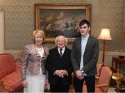 8 December 2017; Galway's Niall Coen is welcomed by the President of Ireland Michael D Higgins and his wife Sabina during the GAA Hurling All-Ireland Senior & Minor Champions visit to Áras an Uachtaráin in Phoenix Park, Dublin. Photo by Stephen McCarthy/Sportsfile