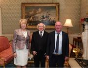 8 December 2017; Gerry Moylett is welcomed by the President of Ireland Michael D Higgins and his wife Sabina during the GAA Hurling All-Ireland Senior & Minor Champions visit to Áras an Uachtaráin in Phoenix Park, Dublin. Photo by Stephen McCarthy/Sportsfile