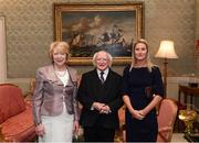 8 December 2017; Colette Lynskey is welcomed by the President of Ireland Michael D Higgins and his wife Sabina during the GAA Hurling All-Ireland Senior & Minor Champions visit to Áras an Uachtaráin in Phoenix Park, Dublin. Photo by Stephen McCarthy/Sportsfile