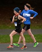 9 December 2017; Veronica Burke, of Ballinasloe Athletic Club, Co Galway, first place finisher, left, and Kate Veale, of West Waterford AC, second place finisher, during the Senior Women's event of the Irish Life Health National 20k Race Walking Championships at St Anne's Park in Raheny, Dublin. Photo by Piaras Ó Mídheach/Sportsfile