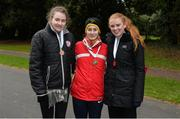 9 December 2017; Senior Women's event medal winners, from left, Rachel Glennon, of Mullingar Harriers Athletic Club, Co Westmeath, third place, Veronica Burke, of Ballinasloe Athletic Club, Co Galway, first place, and Kate Veale, of West Waterford AC, second place, after the Irish Life Health National 20k Race Walking Championships at St Anne's Park in Raheny, Dublin. Photo by Piaras Ó Mídheach/Sportsfile