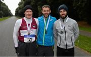 9 December 2017; Senior Men's event medal winners, from left, Seán McMullen of Mullingar Harriers Athletic Club, Co Westmeath, third place, Alex Wright of Leevale Athletic Club, Co Cork, first place, and Cian McManamon of Westport Athletic Club, Co Mayo, second place, after the Irish Life Health National 20k Race Walking Championships at St Anne's Park in Raheny, Dublin. Photo by Piaras Ó Mídheach/Sportsfile